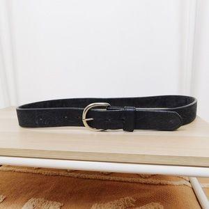 Vintage Black Engraved Leather Belt